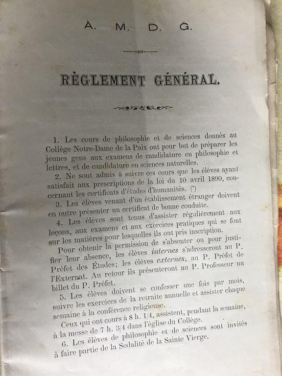 Règlement général de la faculté de Philosophie et Lettres (1893)