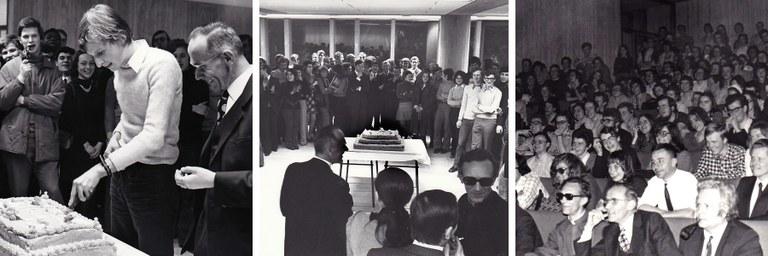 Le cocktail d'inauguration de la nouvelle faculté et le public de la Revue en 1973