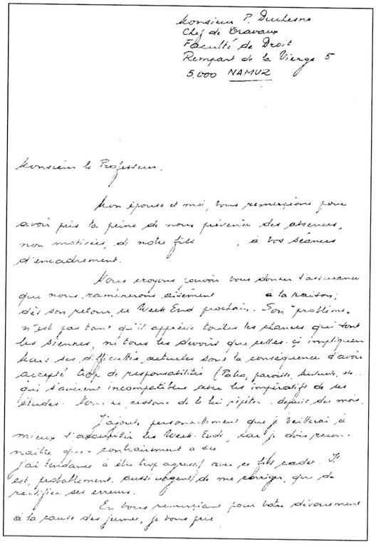 Lettre de parents adressée à Paulin Duchesne suite aux absences injustifiées de leur fils aux séances d'encadrement